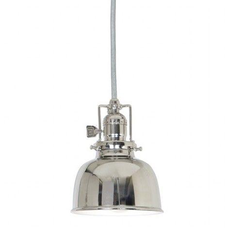 Mini suspendu en métal chrome et intérieur blanc soutenu par c¢ble