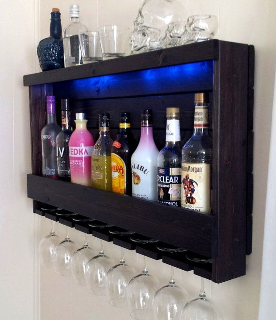 Wine Rack Liquor Cabinet With Optional Led Lights Gl 200 Lb Cleat Mount Rich Dark Brown Espresso The American