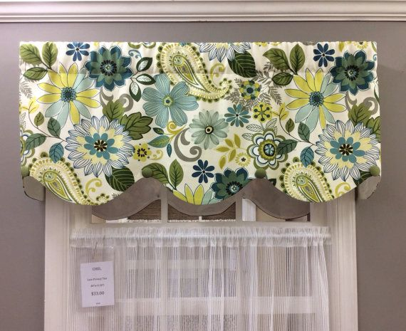 Teal/Lime/Gray Whimsical Floral Valance By