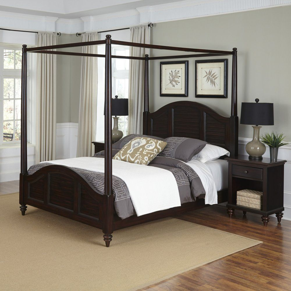 Best The Bermuda Queen Canopy Bed And Two Nightstands 400 x 300