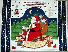 Nostalgic Christmas Santa Apron Cotton Quilting Sewing Panel Fabric