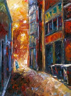 "Daily Painters Abstract Gallery: Cityscape, Landscape ,Street Scene Painting ""Her Blue Purse"" by Texas Artist Debra Hurd"