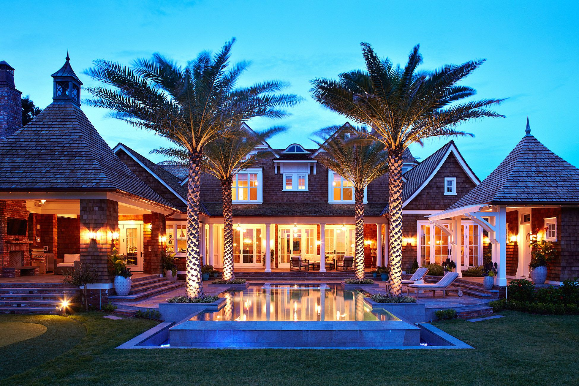 dream backyard with pool and palm trees this outdoor living area
