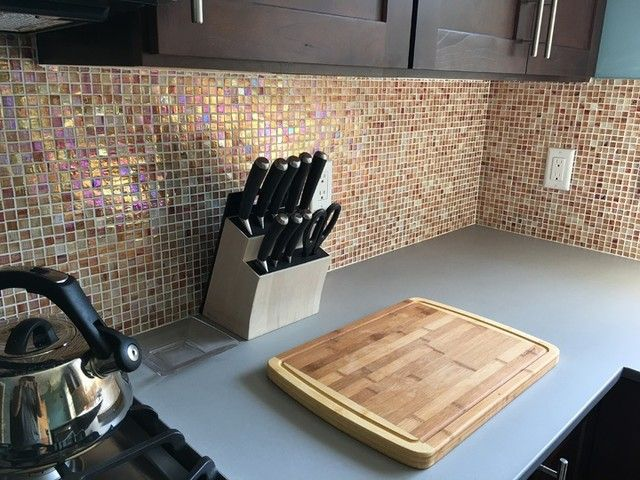 Burnt Orange Hue Kitchen Backsplash Mosaic Tile   Ottawa Translucent Glass  .5 X .5