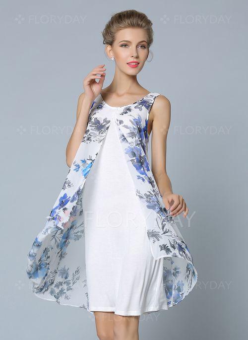 Vestidos 4848 Chifón Floral Sin Mangas Sobre Las