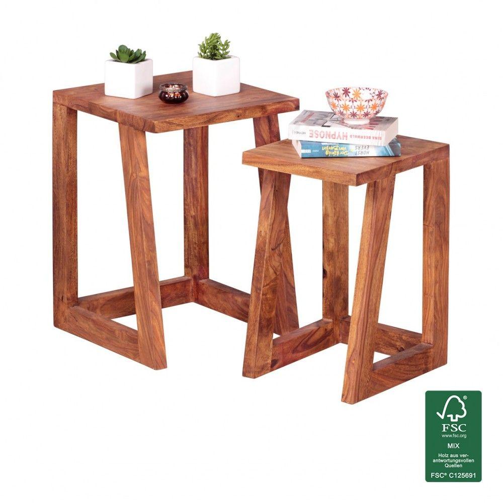 Image For Wohnling 2er Set Mumbai Beistelltisch Massivholz Sheesham Design Wohnzimmer Tisch Eckig Nachttisch S Beistelltisch Tisch Holz