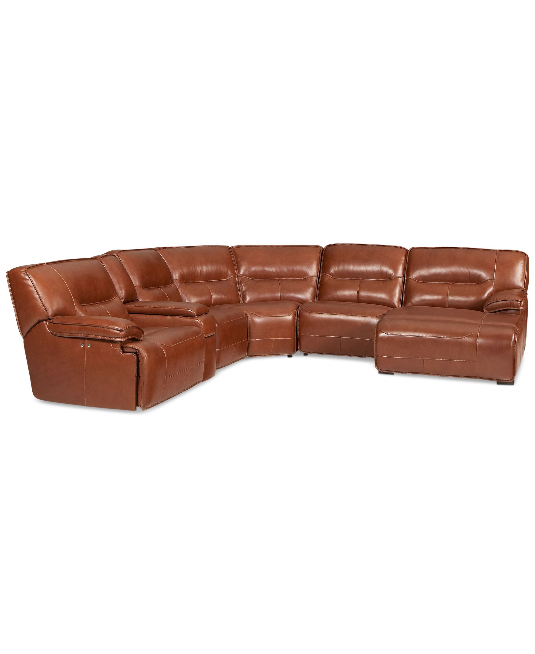 Beckett Leather 6-Piece Chaise Sectional Sofa with 2 Power Recliners