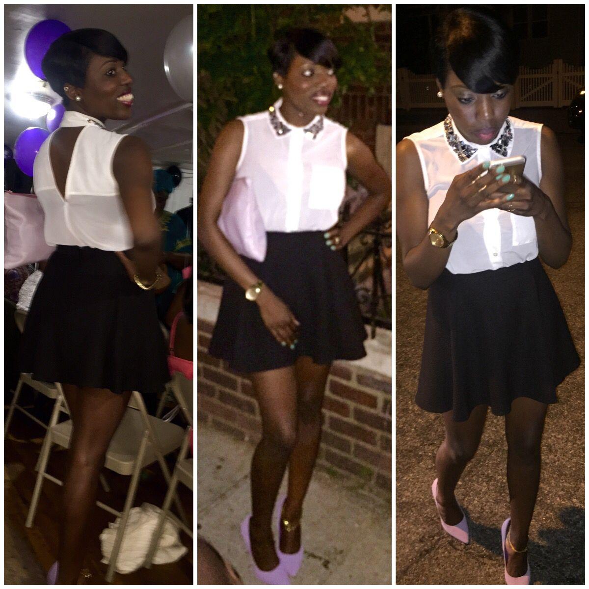 Graduation Party!!! #graduationparty #fashion #summer #blackskirt #whiteshirt #purplepumps #purplebag #cute #smile #iphoneonly #stylish #girl #classy #chic