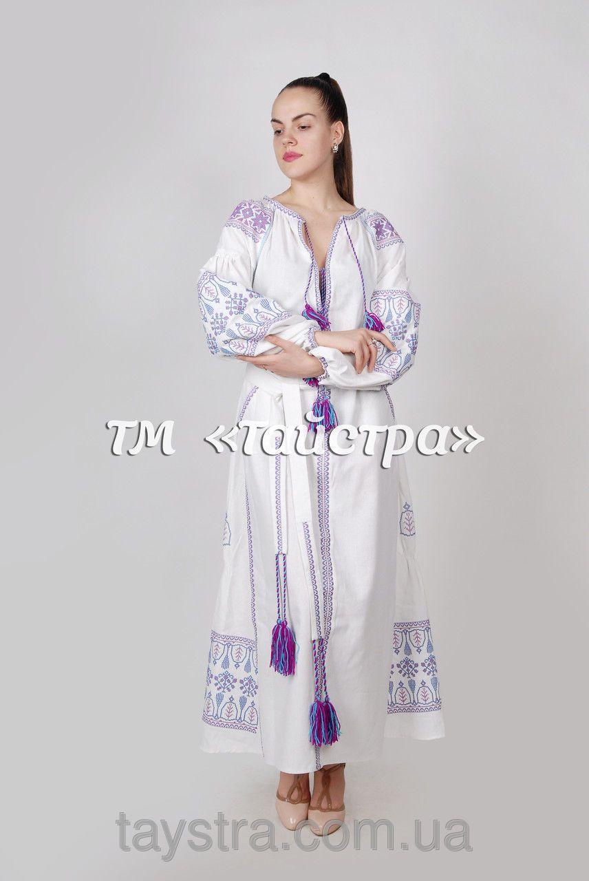 Платье льняное с вышивкой бохо b63525509e2d7