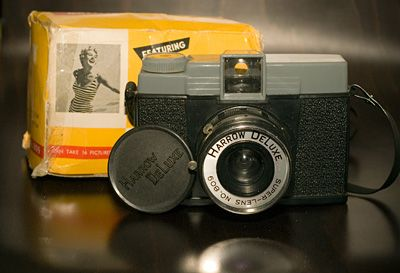 Harrow DeLuxe - Diana camera.  Not exactly this one - but it was a plastic camera that used 620 film.  Some time in the 60's.  Took pretty good pictures - wish I had those  now.