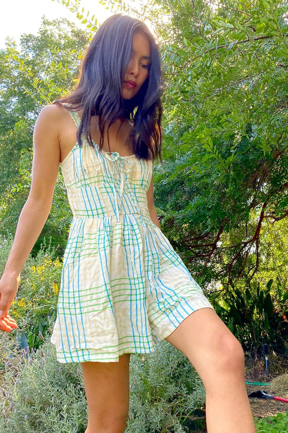 Uo Tate Tie Front Romper Rompers Urban Outfitters Fashion [ 1463 x 976 Pixel ]