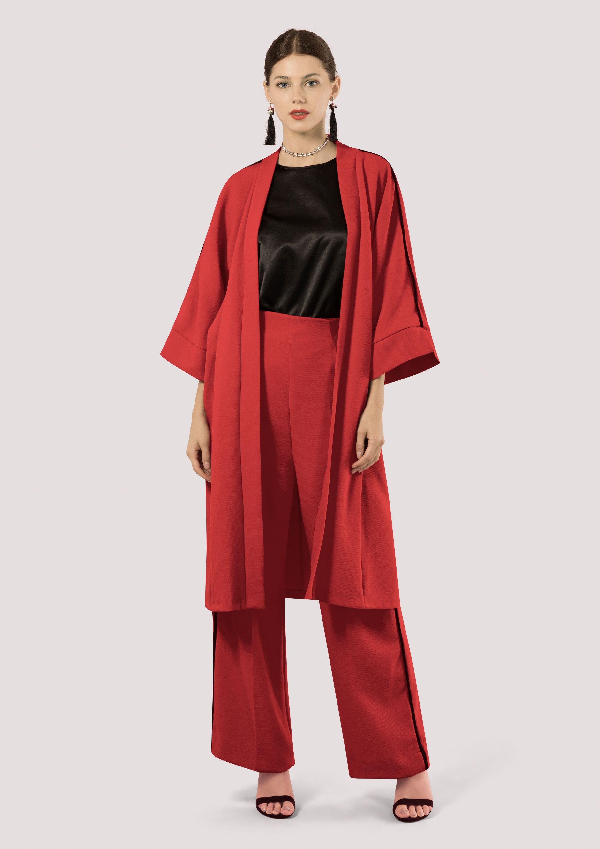 6086e61a24d Red Long Kimono Jacket