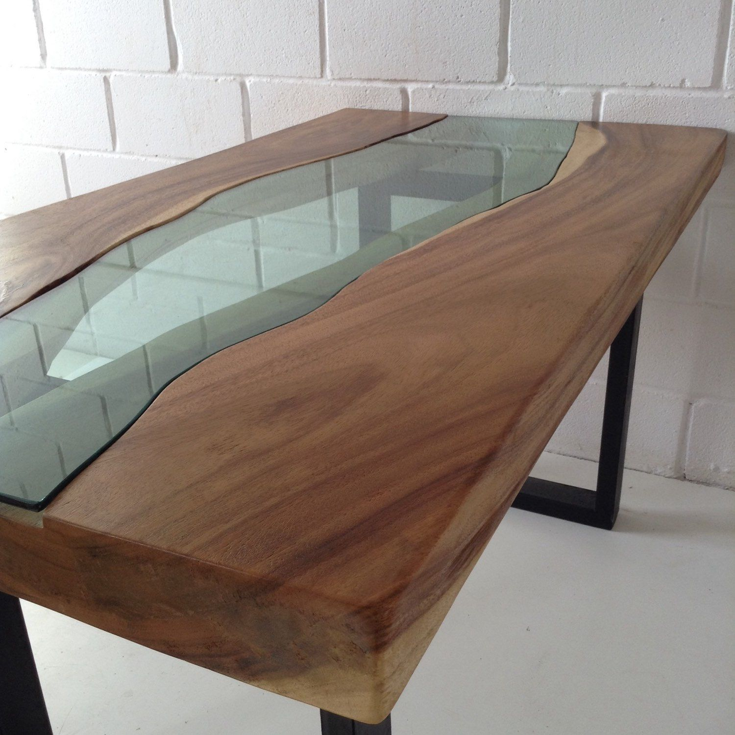 Live edge acacia wood dining table with glass river centre for Glass and wood dining table
