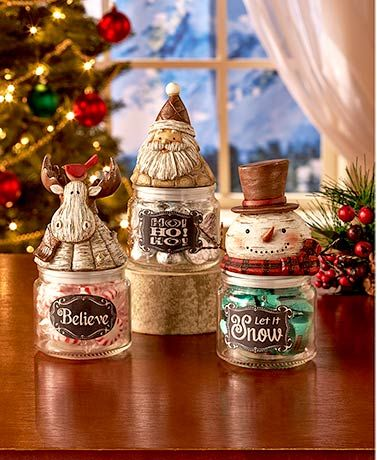 Christmas decorations: Set out holiday treats in your home or give a sweet gift with this Holiday Character Candy Jar. The top features a classic holiday character made from cold cast ceramic with colorful details, and the glass bottom has a coordinating seasonal saying