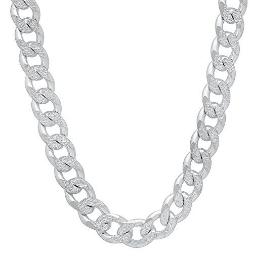 bf4596cfcff Men s Jewelry Men s 8mm Solid 925 Sterling Silver Diamond-Cut Cuban Link  Curb Chain Necklace