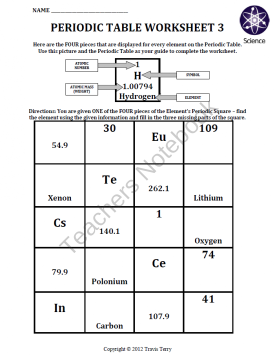Worksheet Periodic Table Worksheet 3 product from
