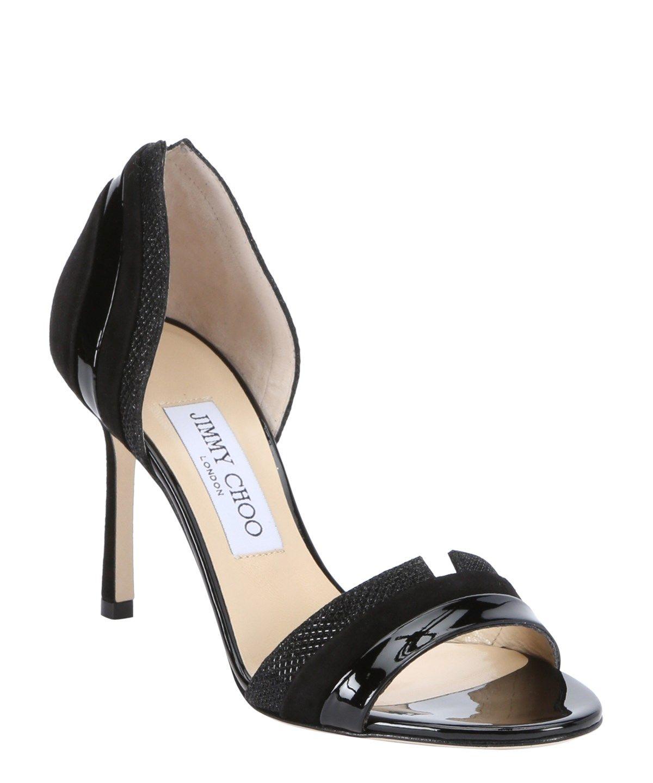 JIMMY CHOO Black Patent Leather And Glitter Lame 'Mesreen 85' Mixed Media Sandals