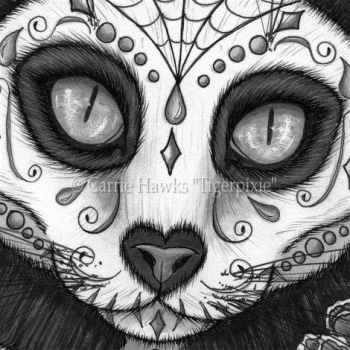 Le Canvas Day Of The Dead Cat Skull Sugar Skull Cat