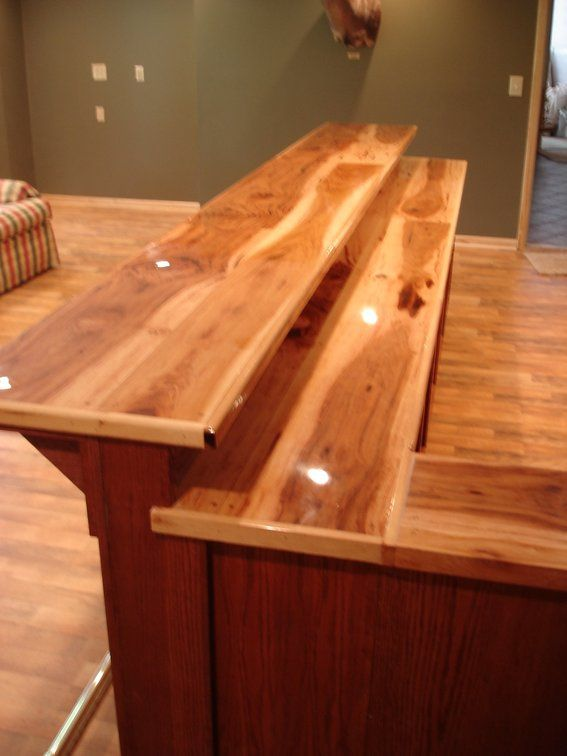 Custom Bar Top Ideas | Custom Made Oak Bar With Hickory Counter Top