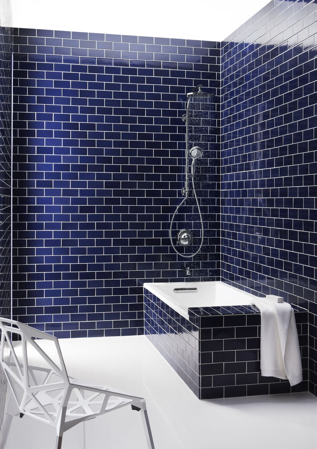 navy blue subway tile blue bathroom