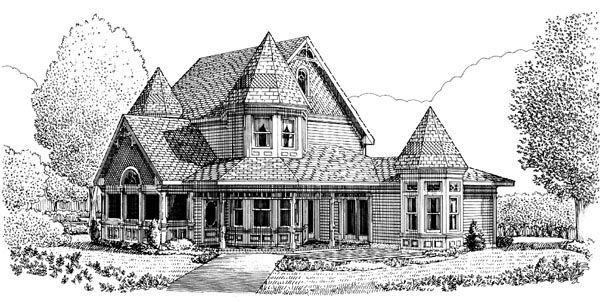 Contemporary Country Farmhouse Victorian House Plan 90342 Rear ... on 18th century farmhouse, civil war farmhouse, country farmhouse,