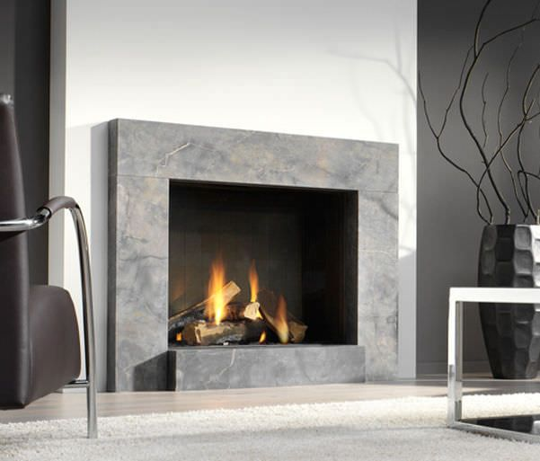 Chimenea de gas / hogar cerrado / moderna - LARGO - Platonic - chimeneas modernas