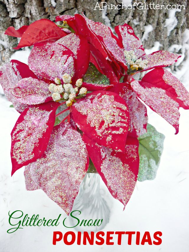 Glittered Snow Poinsettias: A Pinch of Glitter.  Great winter decor for less than $3!