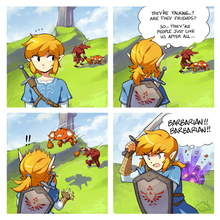 Tumblr So My Sympathy For The Botw Monsters Ended When I Discovered Two Of Them Seeming To Talk To Eac Legend Of Zelda Memes Legend Of Zelda Breath Of The Wild
