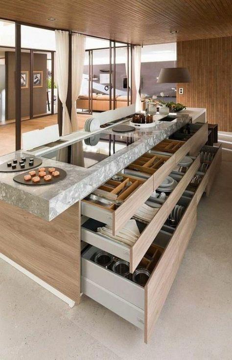 La cuisine équipée avec îlot central - 66 idées en photos - Archzine - Cuisine Amenagee Avec Ilot