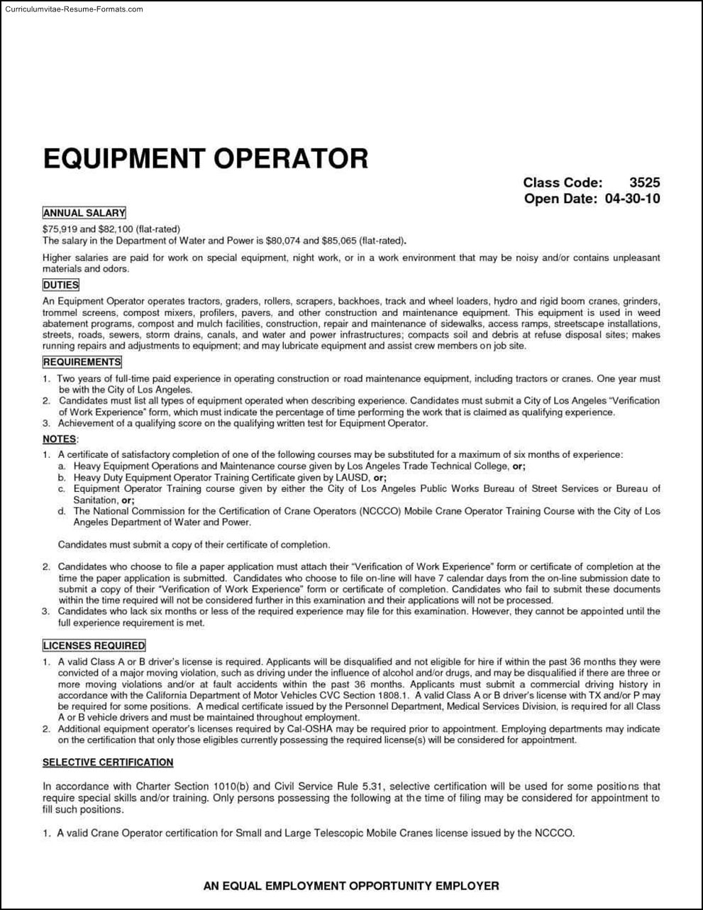 Heavy Equipment Operator Resume Template Free Samples Examples