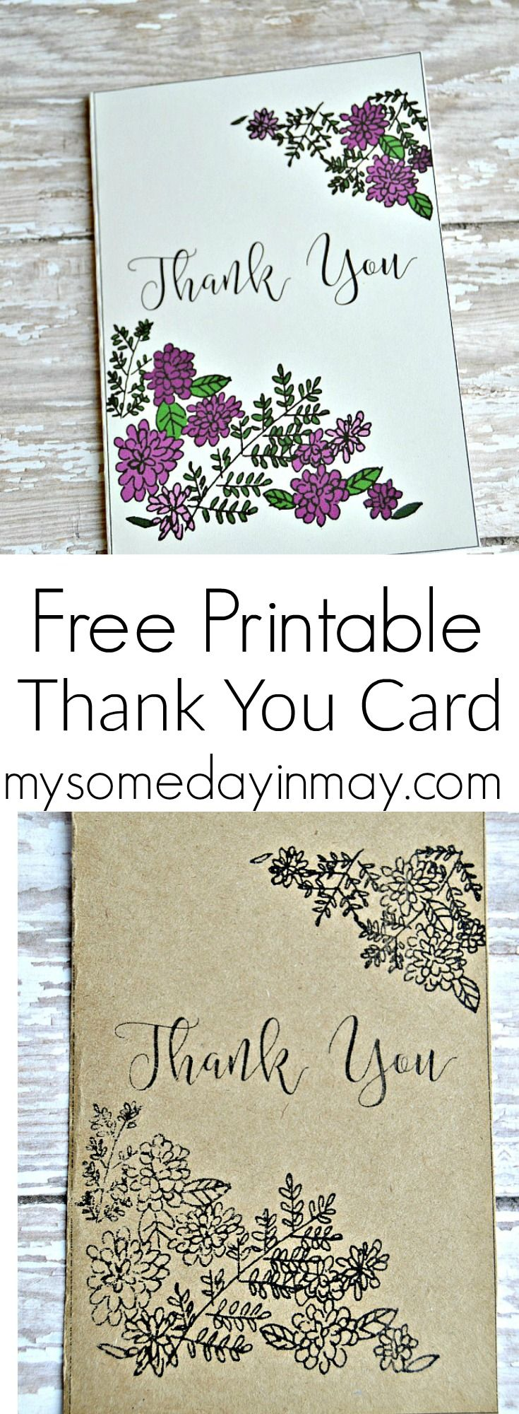 Free printable thank you cards someday in may prints