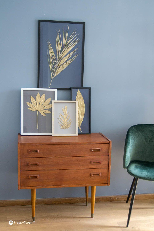 DIY goldene Blätter einrahmen   aaa   Pinterest   Diy deko, Wanddeko ...