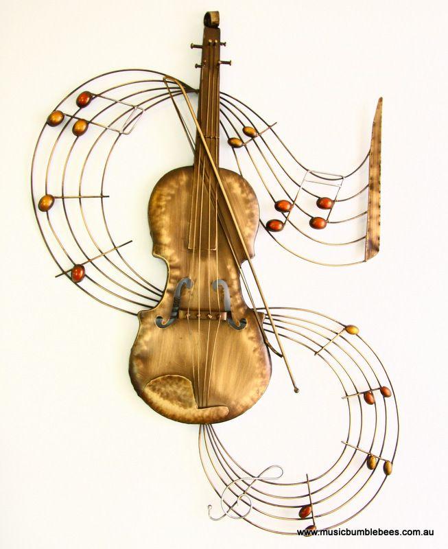 Metal Wall Art Violin Perfect For Decorating Your Studio Outdoor Or Indoor Material Metal Dimensions 97cm H X 70cm W X Metal Wall Art Art Musical Art