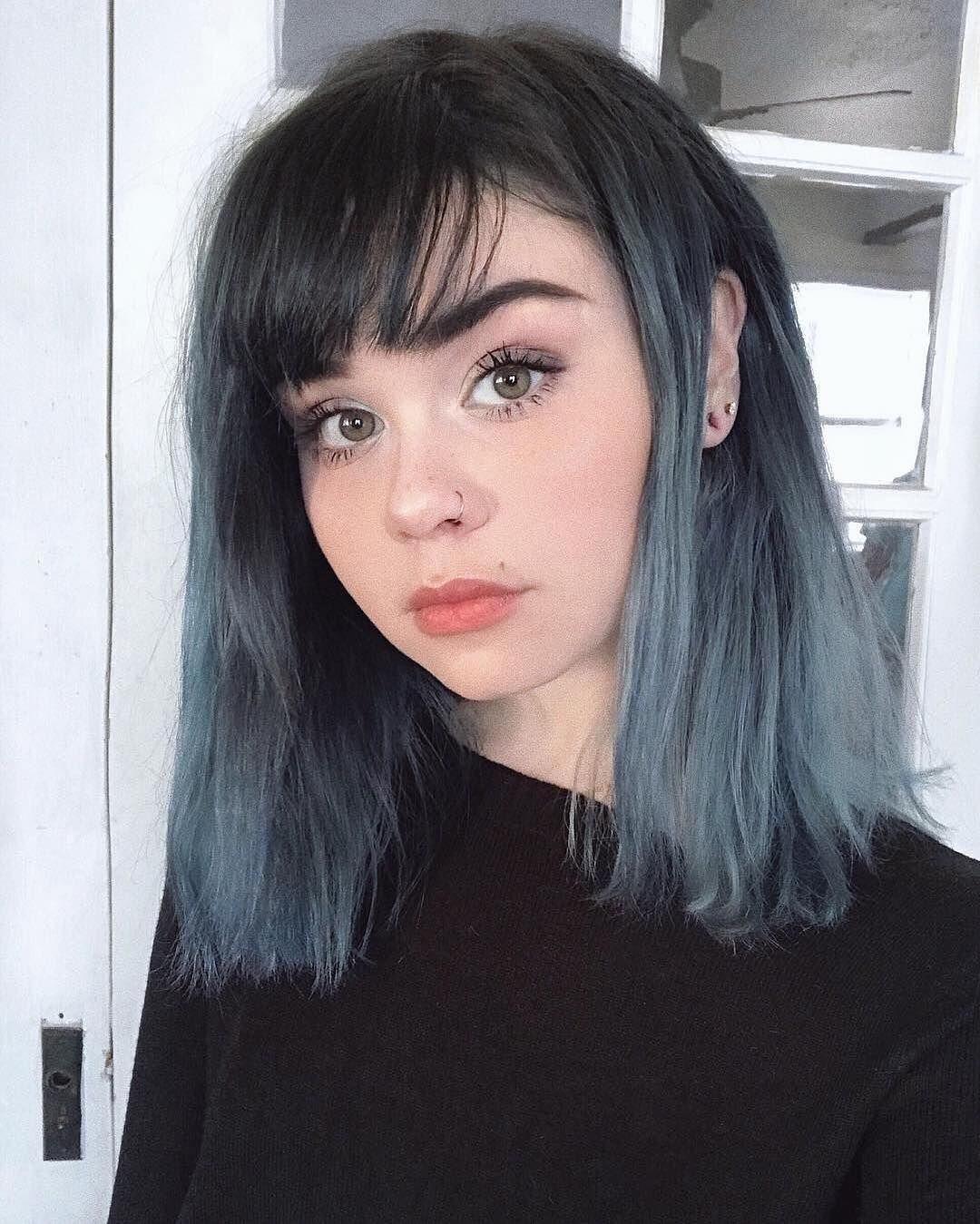Dyed Blue Front Streaks In 2020 Hair Color Streaks Blue Hair Streaks Dyed Hair Blue