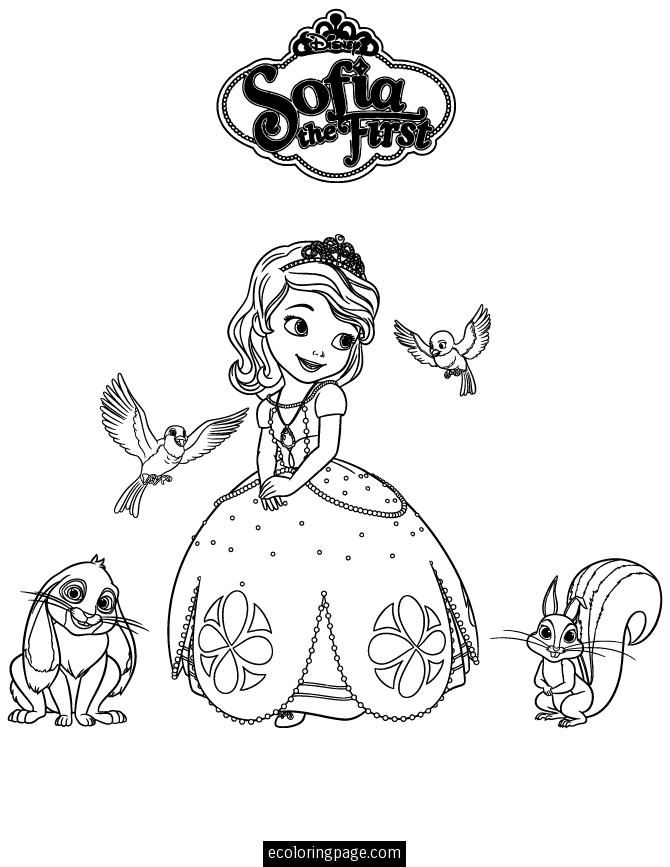 sofia the first coloring page for kids Printable Kids Coloring