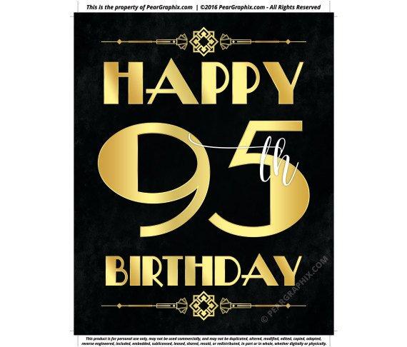 Happy 95th Birthday Sign Printable Decor Roaring 20s Gatsby Party Decoration