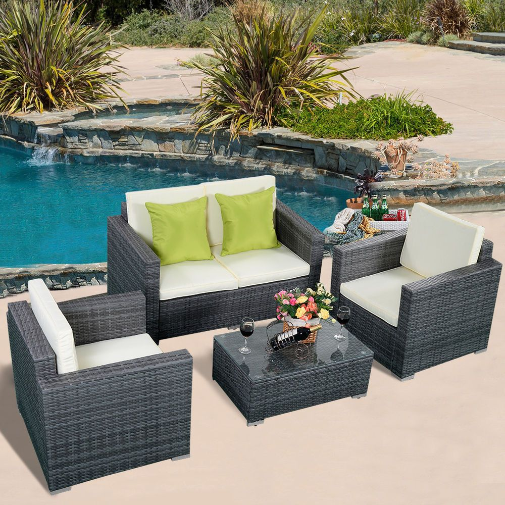 Pc gray wicker rattan sofa furniture set patio garden lawn