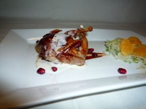 Quail for Aries - Pomegranate Barbecued Quail with Gorgonzola Cream and Pomegranate Seeds paired with a Shaved Fennel, Celery Leaf & Clementine Salad and Citrus Herb Vinaigrette