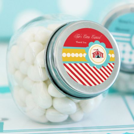 Circus Carnival Party Personalized Candy Jars  wedding favors