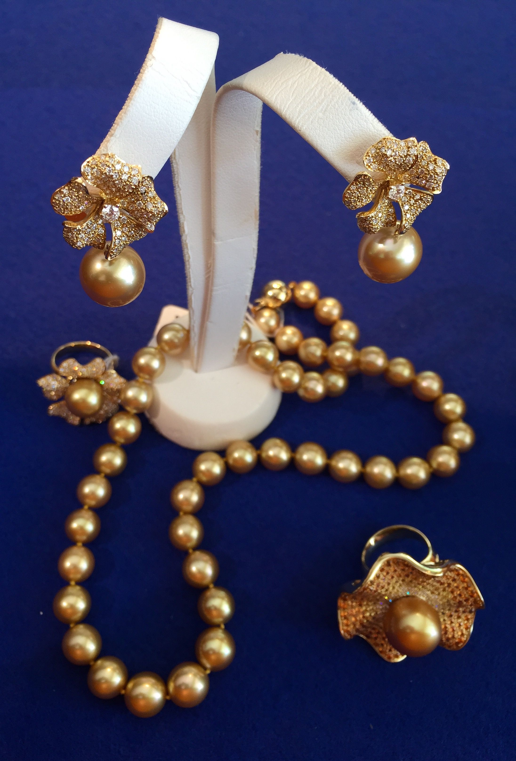 740db3058 Assortment of fine South Sea golden pearl jewelry by Jewelmer, Philippines.