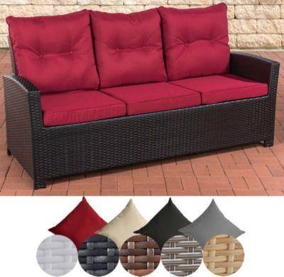 Poly-Rattan 3er Sofa FISOLO, Aluminium Gestell - 100 rostfrei - mit