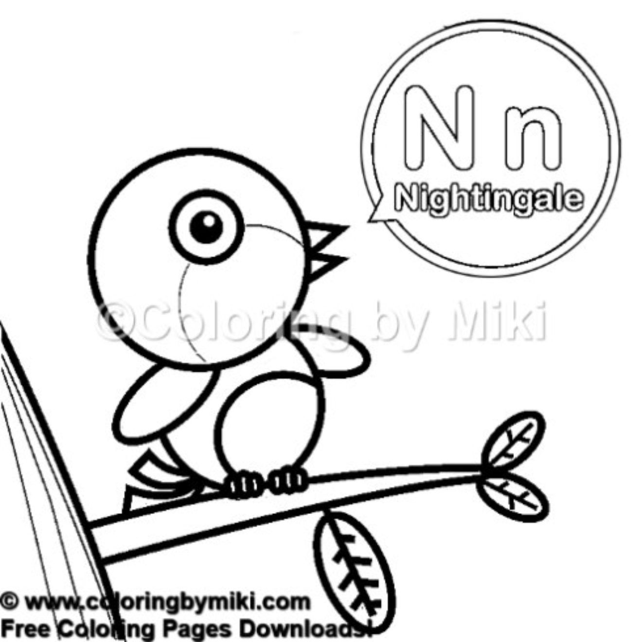 Alphabets N For Nightingale Coloring Page 438 Kidsactivities
