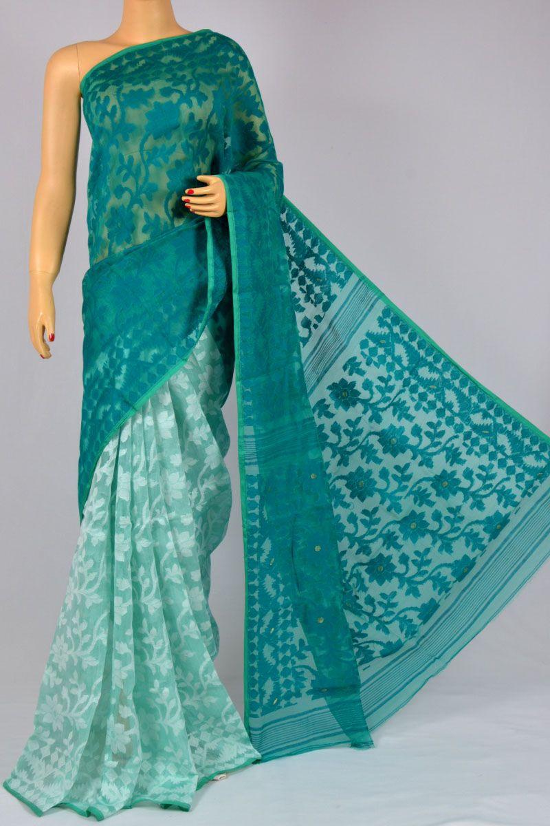 4c793468be Sea Green Color Soft Dhakai Jamdani Handwoven Bengal Handloom Cotton Tant  Saree (Without Blouse) - MC250123