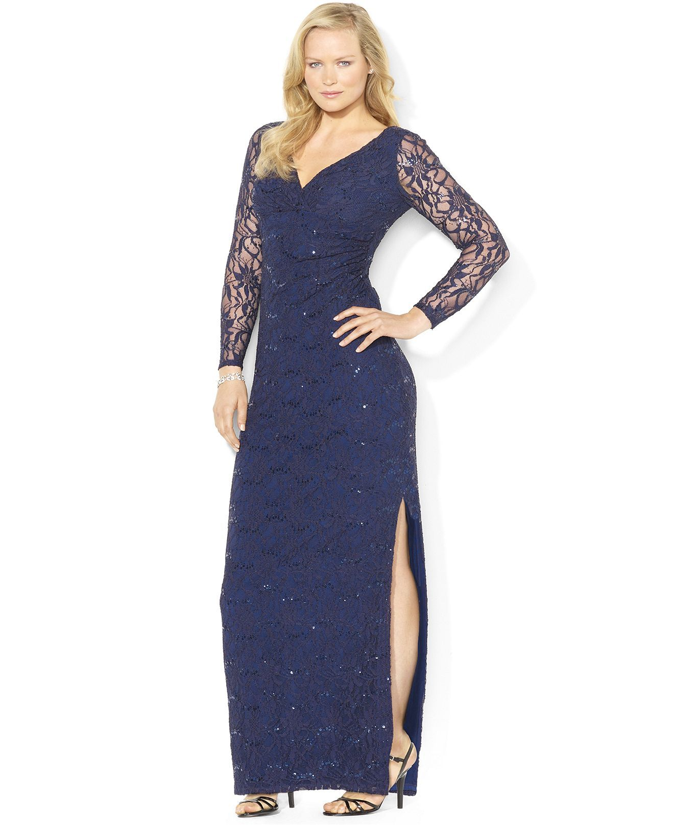 Lauren Ralph Lauren Plus Size Long-Sleeve Sequined Lace Gown - Plus ...
