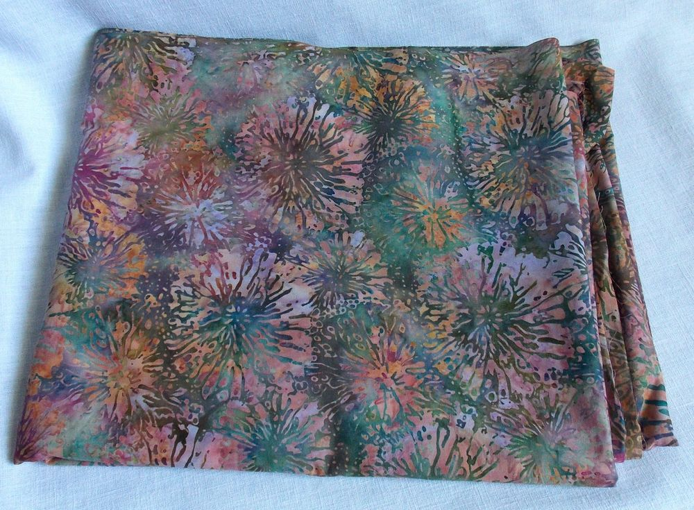 Tropical Floral Cotton Quilt Stash Fabric Dandelions Green Purple Pink 3 Yards #Unbranded