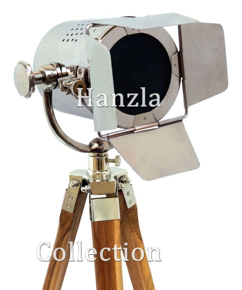 Wooden Tripod Floor Lamp Nautical Retro Spotlight Industrial