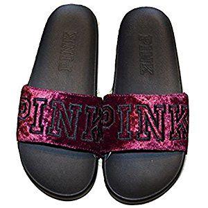 Victoria's Secret Pink Velvet Single Strap Slides Sandals Large Ruby NWT