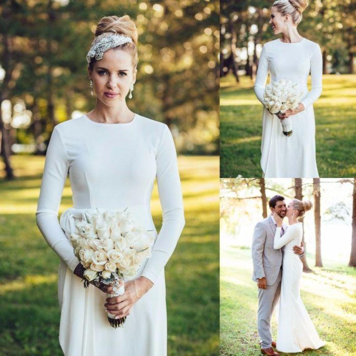 vestidos bonitos, vestido de novia simple de líneas limpias con ...