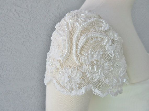 97d92fcbbc72 Detachable Ivory Beaded Lace Cap Sleeves to Add to your Wedding Dress it  Can be Customize