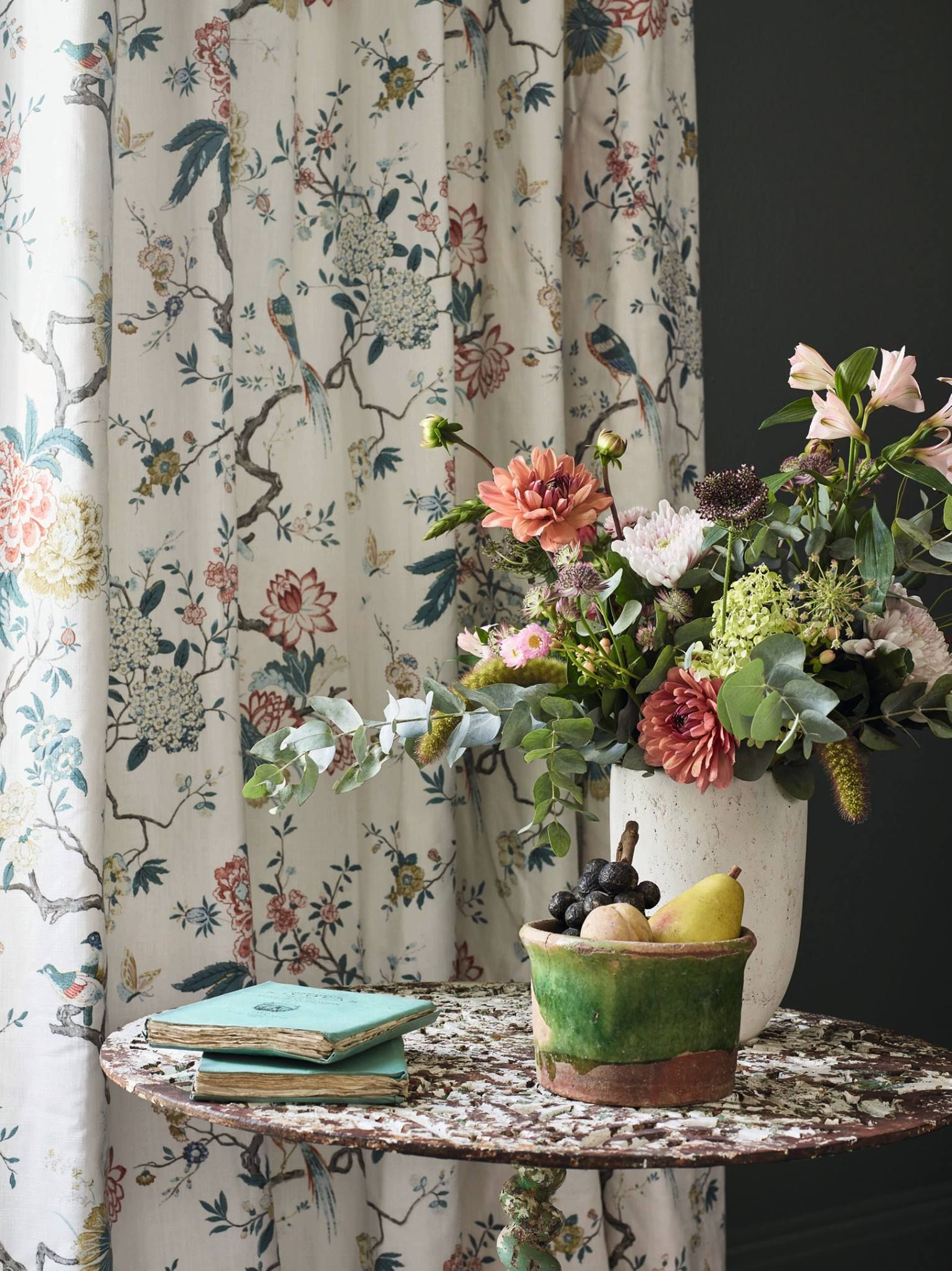 Curtain Oriental Bird In Teal From The Signature Print Collection
